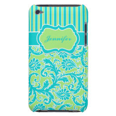 Blue, Green, White Striped Damask Ipod Touch Case at Zazzle