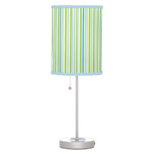 Blue, Green White Striped Lamps