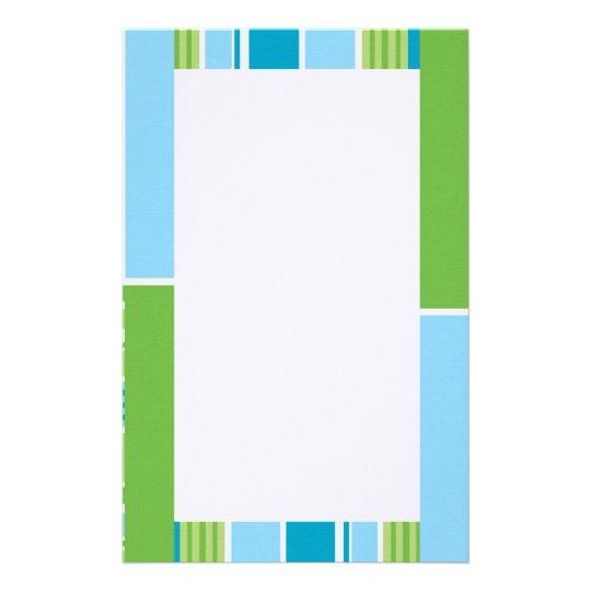 Blue,Green & White Stripes Stationery