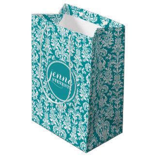 Blue-Green & White Vintage Damasks Medium Gift Bag