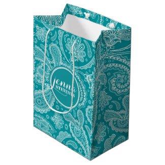 Blue-Green & White Vintage Paisley Pattern 2 Medium Gift Bag
