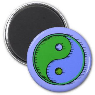 Blue Green Windblown Yin Yang 2 Inch Round Magnet