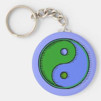 Blue Green Windblown Yin Yang Basic Round Button Keychain