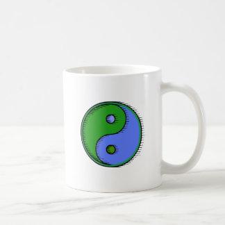 Blue Green Windblown Yin Yang Coffee Mug