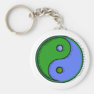 Blue Green Windblown Yin Yang Keychain