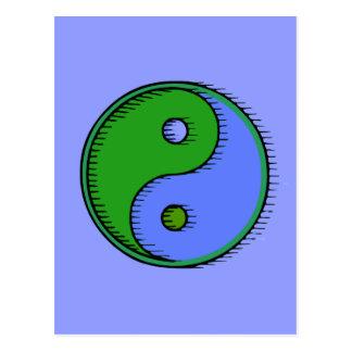 Blue Green Windblown Yin Yang Postcard