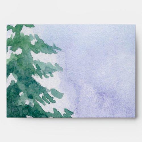 Blue Green Winter Forest Return Address Christmas Envelope