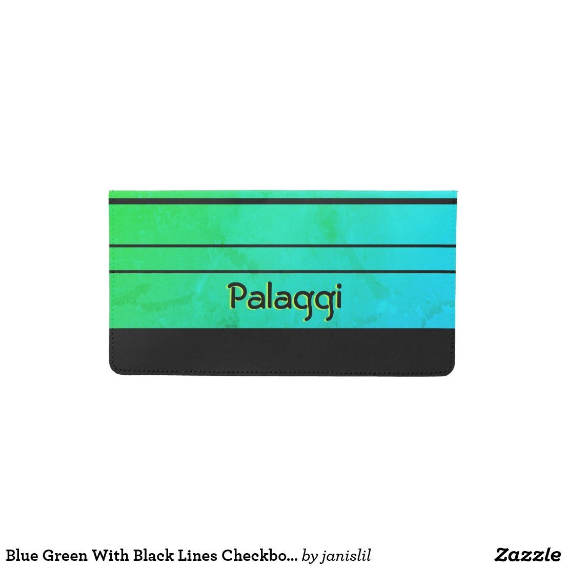 Blue Green With Black Lines Checkbook Cover