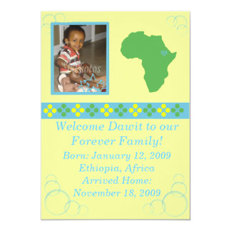 Blue/Green/Yellow Ethiopian Adoption Announcement