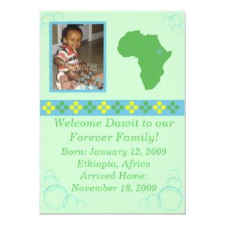 Blue/Green/Yellow Ethiopian Adoption Announcement2 Card