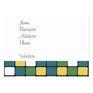 Blue Green Yellow Mosaic Tile Pattern Gifts Large Business Card