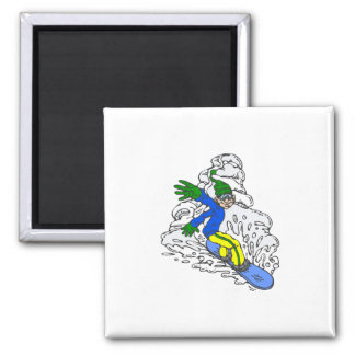 Blue Green Yellow Snowboarder Magnet