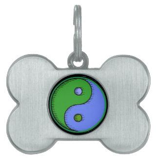 Blue Green Yin Yang Bone Shape Custom Name Dog Tag