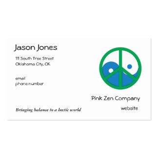 Blue & Green Yin Yang Double-Sided Standard Business Cards (Pack Of 100)