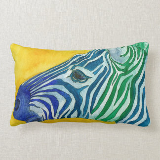 Blue & Green Zebra Throw Pillow