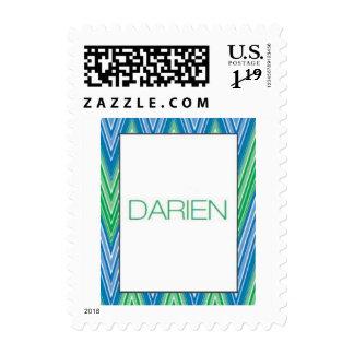 Blue Green zigzag pattern  - Darien Postage