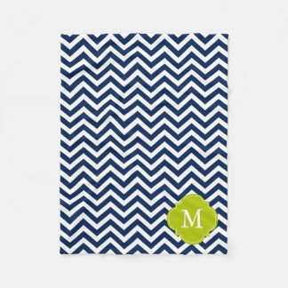 Blue & Green Zigzag Pattern Monogram Fleece Blanket