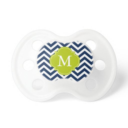 Blue & Green Zigzag Pattern Monogram Pacifier