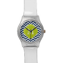 Blue & Green Zigzag Pattern Monogram Wristwatch