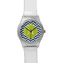 Blue & Green Zigzag Pattern Monogram Wristwatches