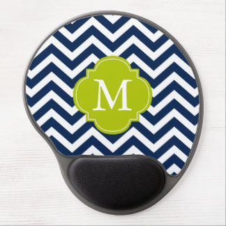 Blue & Green Zigzags Pattern Monogram Gel Mouse Pad