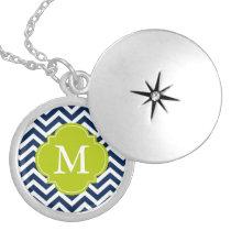 Blue & Green Zigzags Pattern Monogram Custom Necklace