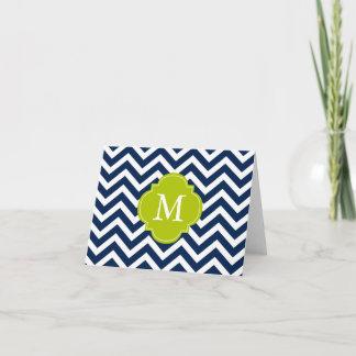 Blue & Green Zigzags Pattern Monogram Note Card