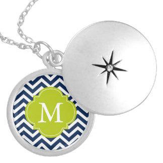 Blue & Green Zigzags Pattern Monogram Round Locket Necklace