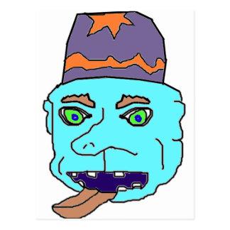 Blue Gremlin Head Post Cards