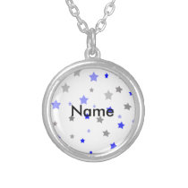Blue, grey and light blue stars pattern silver plated necklace