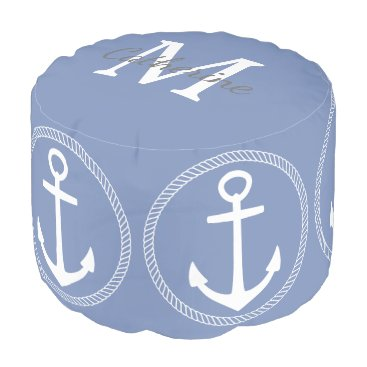 Beach Themed Blue Grey and White Anchor Monogram Pouf