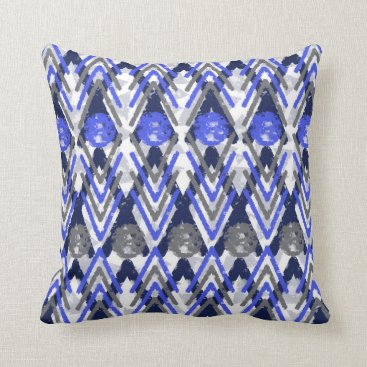 Aztec Themed Blue Grey And White Aztec Throw Pillow