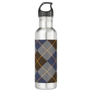 Blue & Grey Argyle Design 24oz Water Bottle