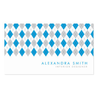 Blue Grey Argyle Pattern Double-Sided Standard Business Cards (Pack Of 100)