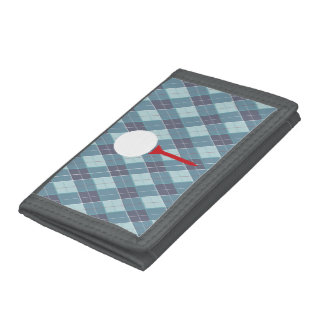 Blue grey argyle patterned plaid golfers tee trifold wallets