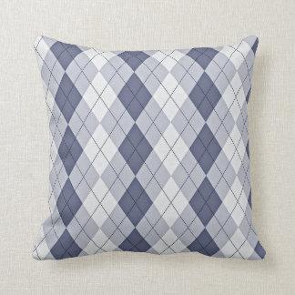 Blue Grey Argyle Pillow