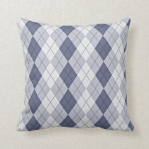 Blue Grey Argyle Throw Pillow