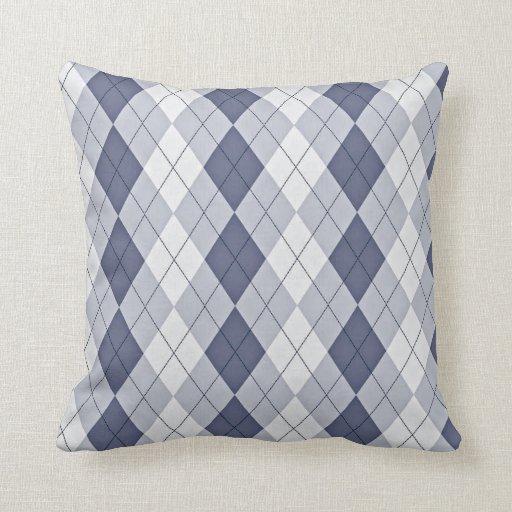 Blue Grey Argyle Throw Pillow Zazzle