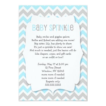 Toddler & Baby themed Blue Grey Baby Sprinkle / boy baby shower invite