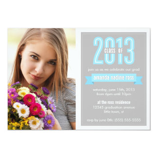 Blue Grey Banner Class of 2013 Photo Graduation 5x7 Paper Invitation Card