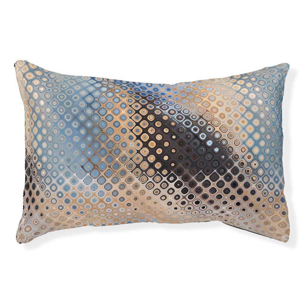 Blue Grey Beige Glass Dots Pattern Dog Bed