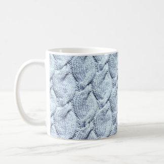 Blue-grey big knitted cables coffee mug
