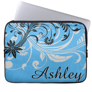 Blue Grey Black Floral Graphic Computer Sleeve