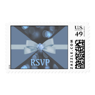 Blue & Grey Bokeh Lights, Ribbon & Bow Wedding Postage