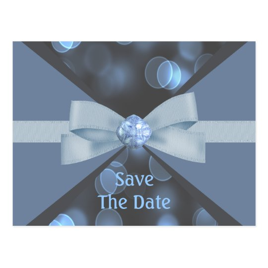 Blue & Grey Bokeh Lights, Ribbon & Bow Wedding Postcard