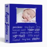 Blue Grey Boys Baby Book Vinyl Binders