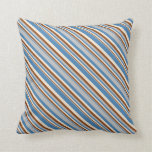 [ Thumbnail: Blue, Grey, Brown & Beige Colored Lines Pillow ]