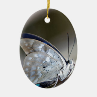 Blue Grey Butterfly Double-Sided Oval Ceramic Christmas Ornament
