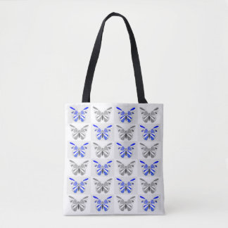 Blue/Grey Butterfly Print Tote Bag