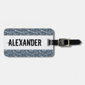 Blue Grey Camo Camouflage Military - Monogrammed Tag For Luggage